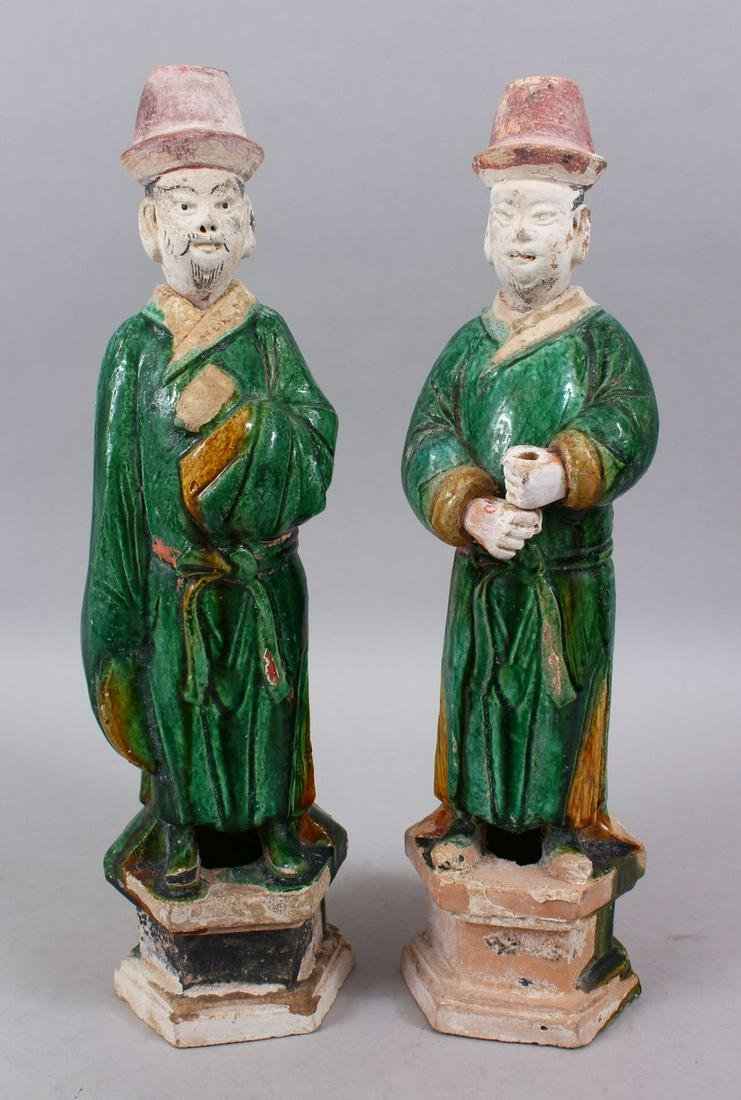 A GOOD PAIR OF MING DYNASTY SANCAI POTTERY TOMB