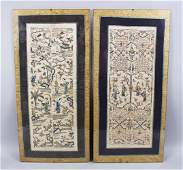 A PAIR OF 19TH CENTURY CHINESE EMBROIDERED SILK PANELS