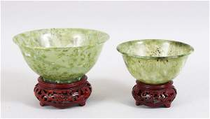A GOOD PAIR OF 20TH CENTURY CHINESE GREEN JADE