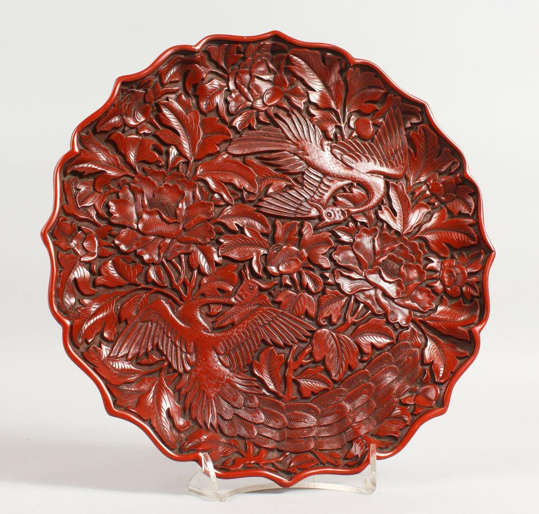 A GOOD CHINESE CINNABAR LACQUER CARVED CIRCULAR DISH