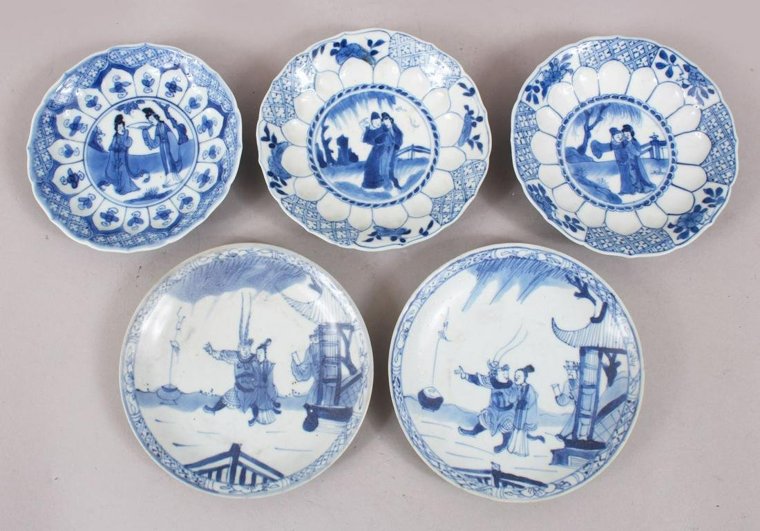 5 CHINESE KANGXI BLUE & WHITE PORCELAIN SAUCERS,  two