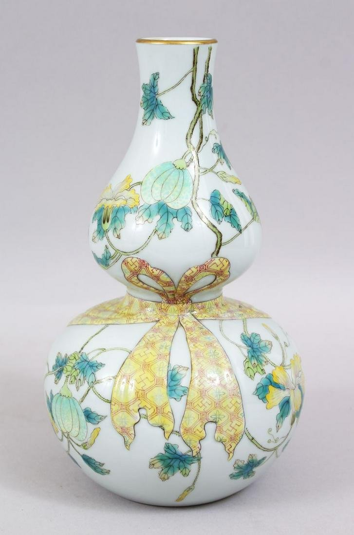 A GOOD CHINESE FAMILLE ROSE PORCELAIN DOUBLE GOURD