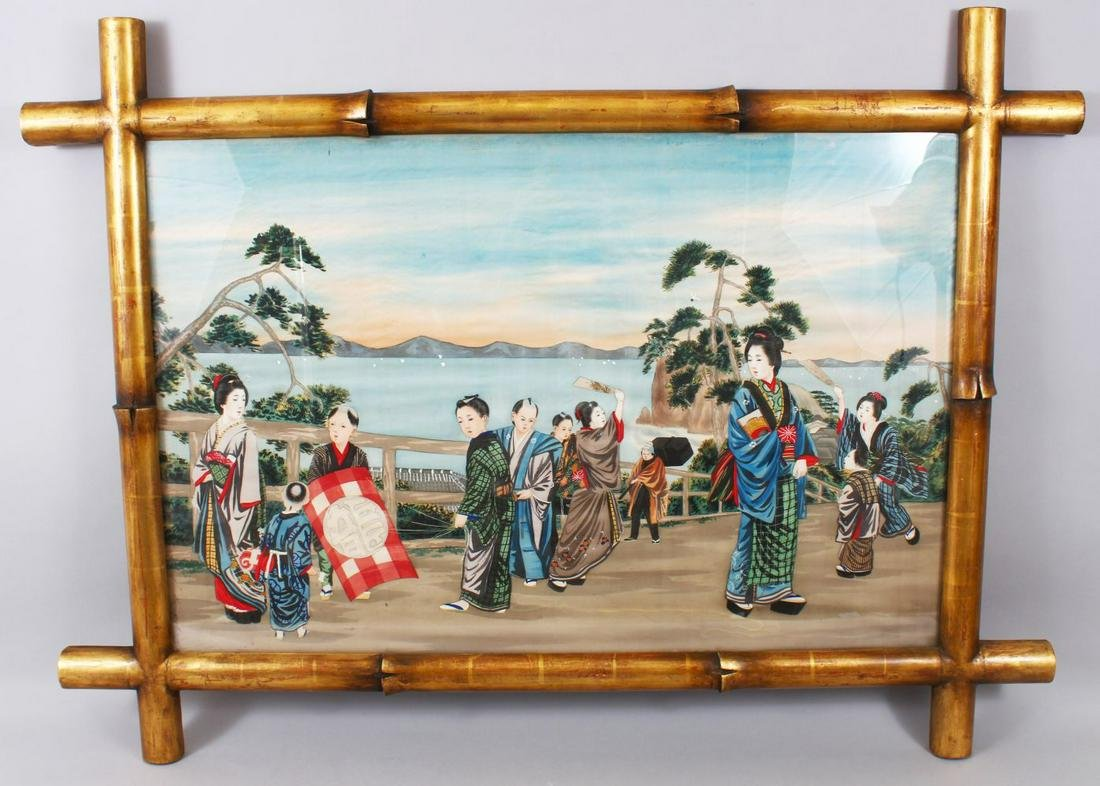 A VERY GOOD JAPANESE MEIJI  PERIOD HAND PAINTED SILK
