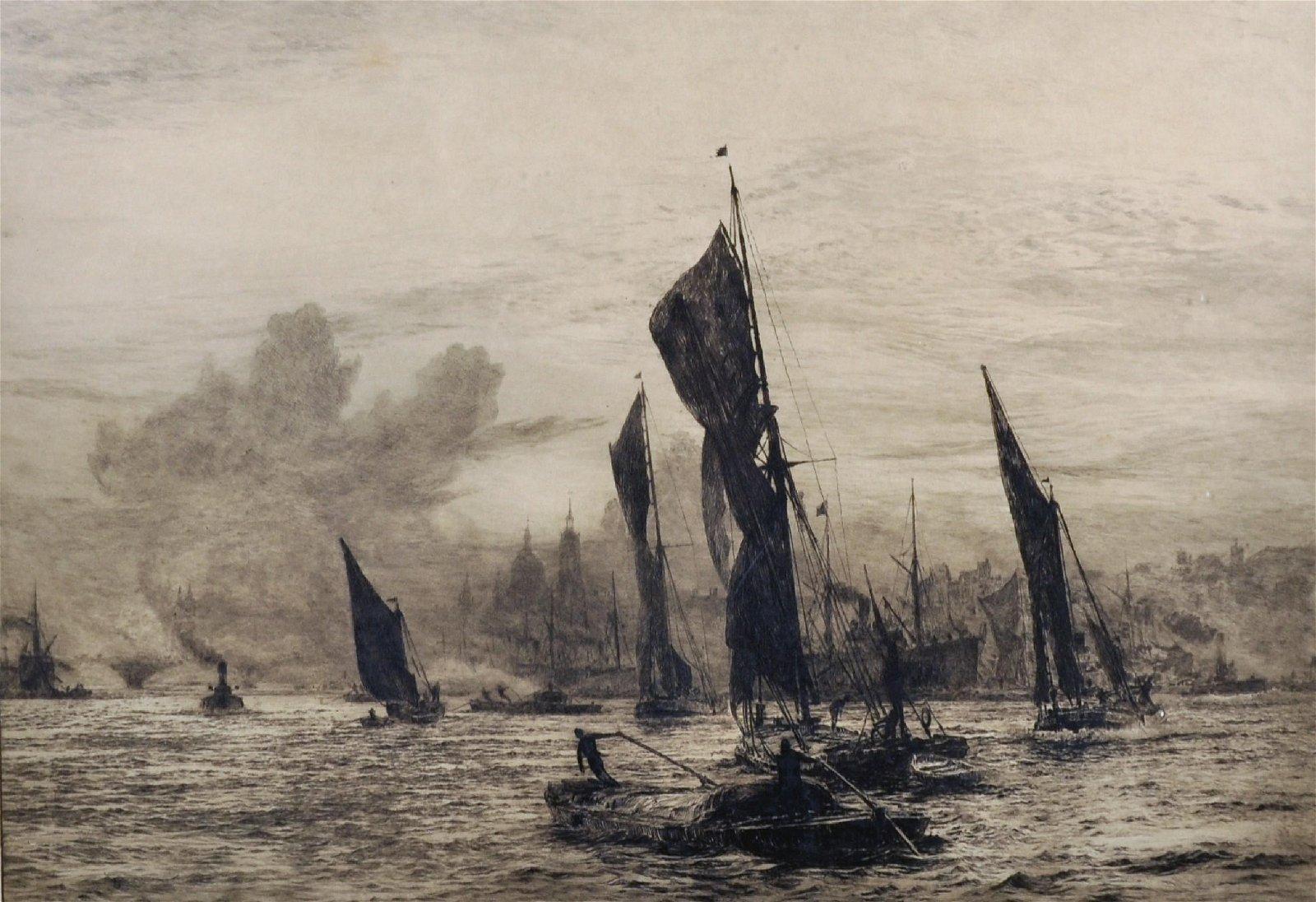 """William Lionel Wyllie (1851-1931) British. """"Barges on"""