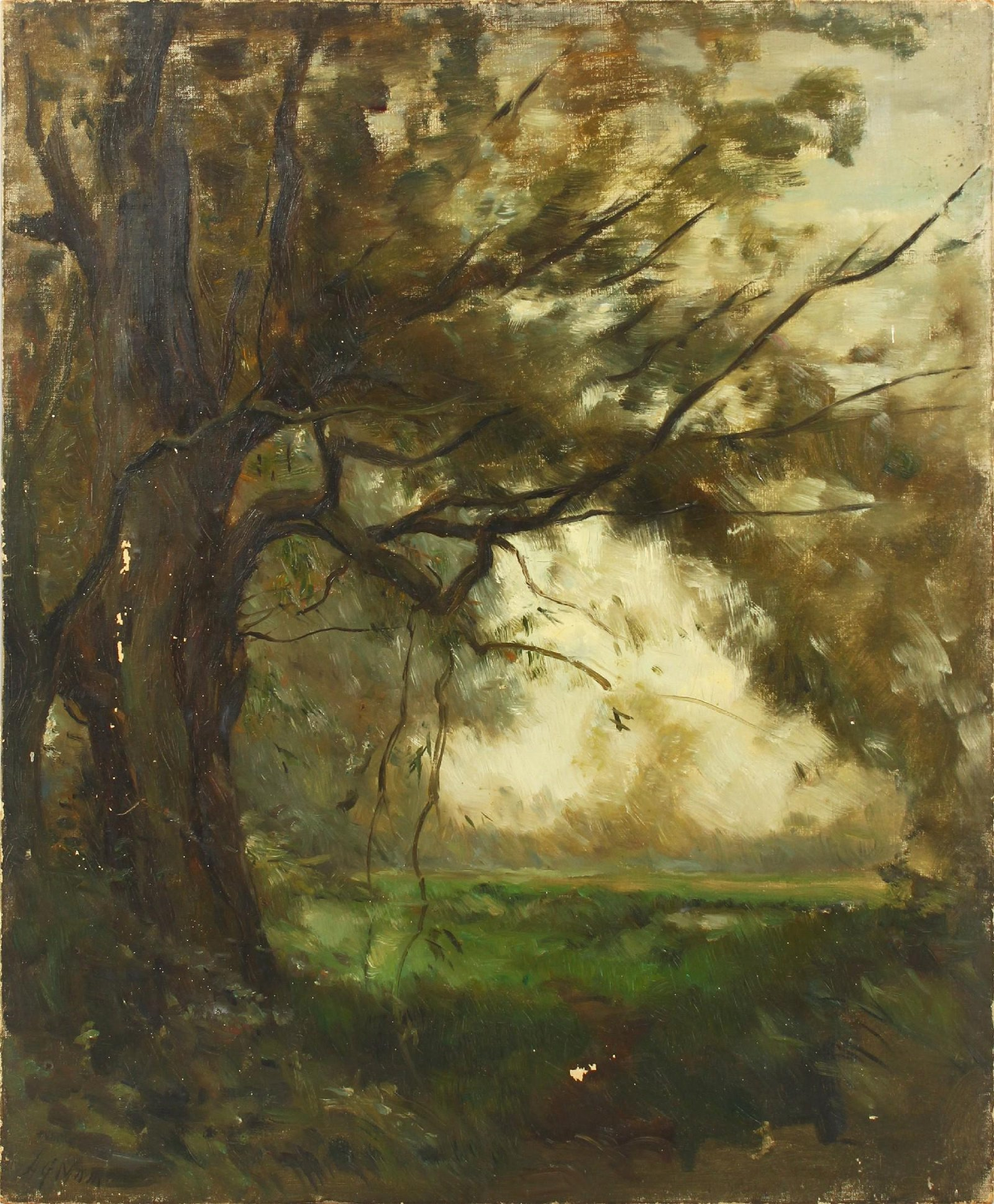 """Henry George Moon (1857-1905) British. """"Old Willow,"""