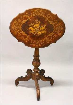 A LATE 19TH CENTURY BLACK FOREST INLAID TABLE.  2ft