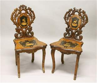 A PAIR OF LATE 19TH CENTURY BLACK FOREST INLAID MUSICAL