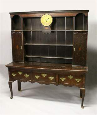 AN 18TH CENTURY OAK DRESSER, the upper section with