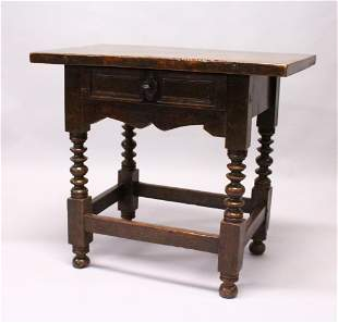 AN 18TH CENTURY SPANISH SIDE TABLE, with solid walnut