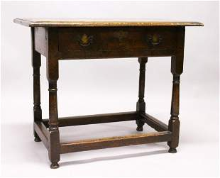 AN 18TH CENTURY OAK SIDE TABLE, with plain three plank