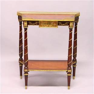 A FRENCH STYLE MAHOGANY AND ORMOLU TWO-TIER CONSOLE