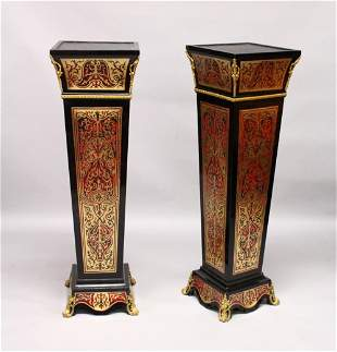 A PAIR OF BOULLE STYLE TAPERING SQUARE COLUMNS, with