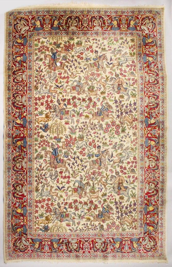 AN INDIAN CARPET, beige ground decorated all-over with