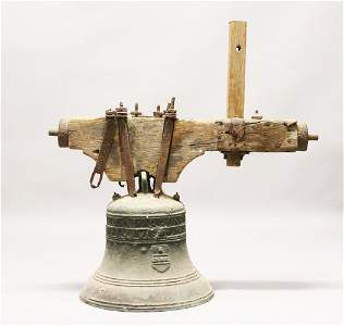 AN IMPRESSIVE AND INTERESTING 18TH CENTURY BRONZE BELL,