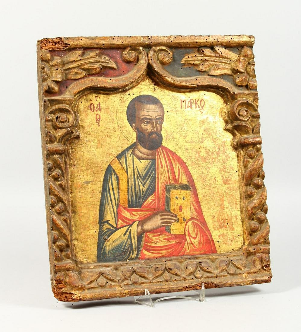 A 19TH CENTURY RUSSIAN ICON, depicting a saint, in a