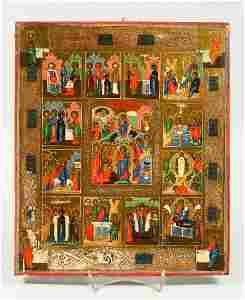 A SUPERB RUSSIAN ICON ON WOOD, 18TH CENTURY, WITH