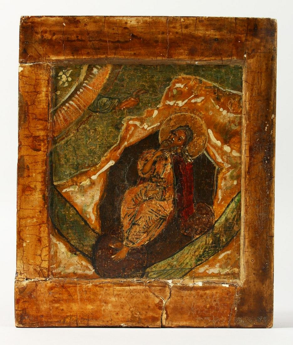 AN 18TH CENTURY RUSSIAN ICON, on panel.  8ins x 7ins.