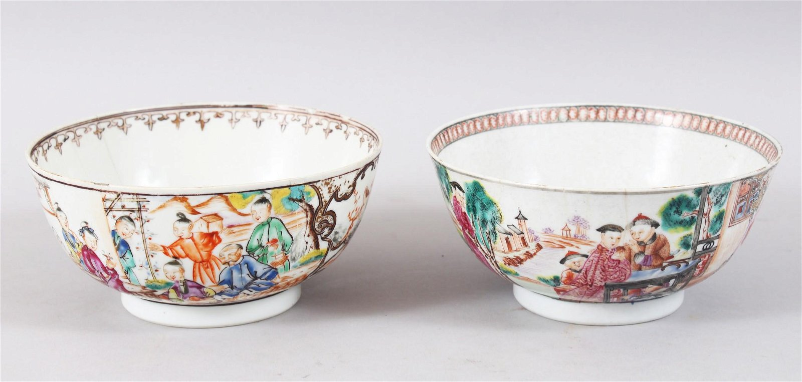 TWO 18TH CENTURY CHINESE FAMILLE ROSE MANDARIN