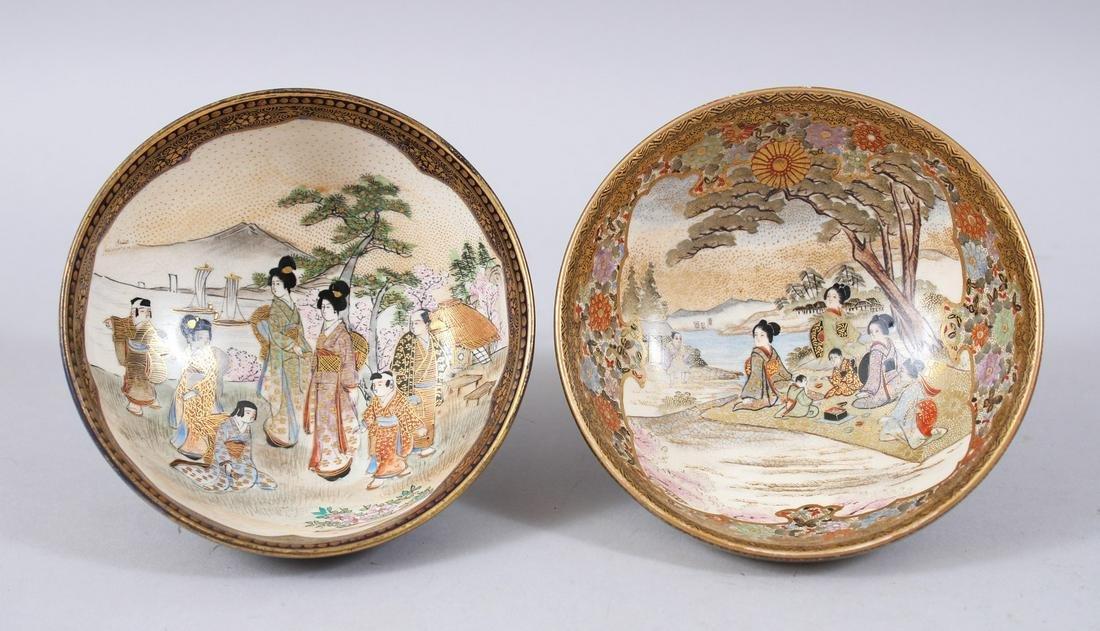 TWO GOOD JAPANESE MEIJI PERIOD SATSUMA BOWLS, both