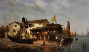 W... Schager (19th Century) German. A Coastal Scene,