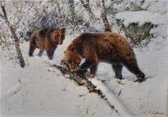 William Woodhouse (1857-1939) British. Brown Bears in a