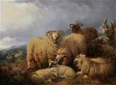 William Watson (1831-1921) British. Sheep in a Highland