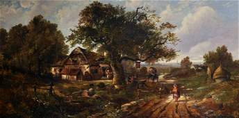 Frans Hopfner (1853-1893) German. A Country Scene by an