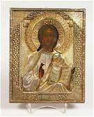 A RUSSIAN SILVER GILT ICON  Christ  Silver Marks CR