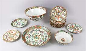 A MIXED SERVICE OF 19TH CENTURY CANTON FAMILLE ROSE