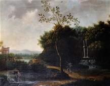 18th Century Dutch School Figures resting on a Path