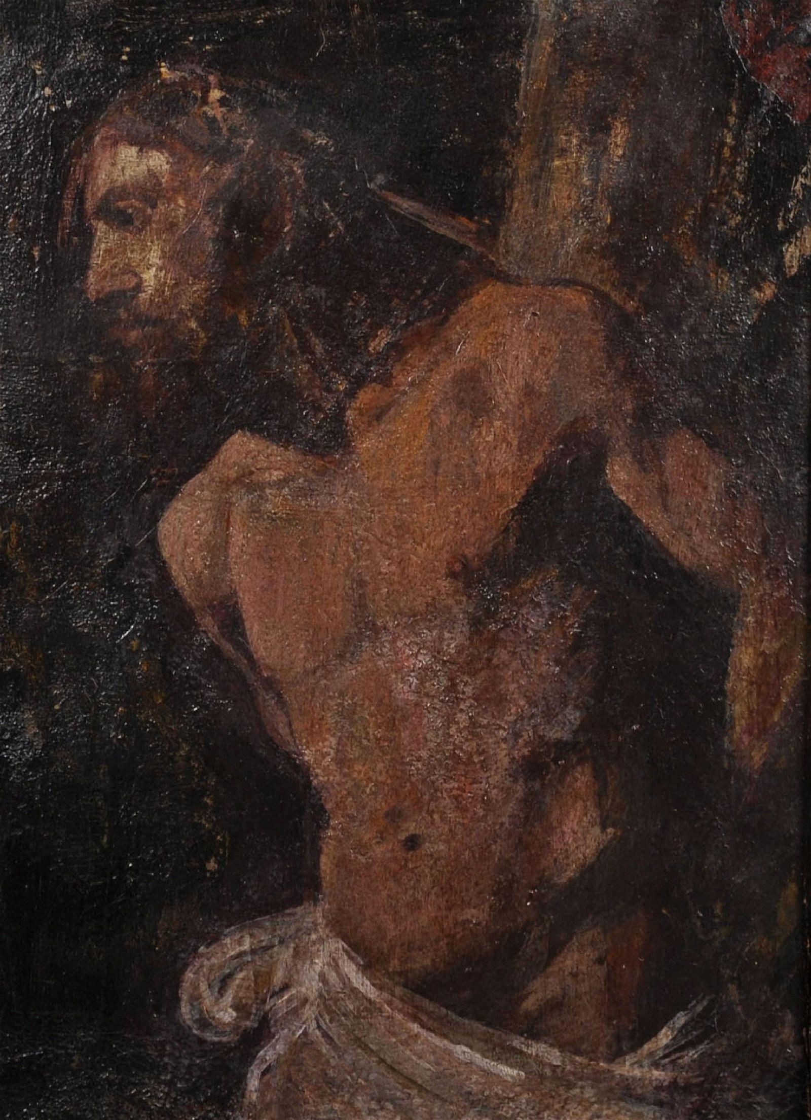 19th Century European School. Study of Christ, Oil on