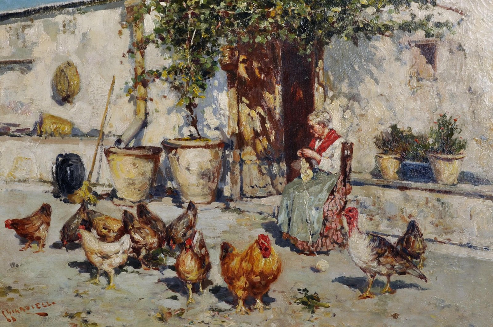 Giuseppe Giardiello (1887-1920) Italian. 'Feeding the
