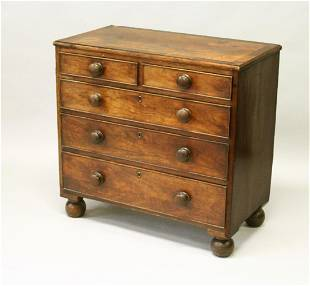 A 19TH CENTURY MAHOGANY STRAIGHT FRONT CHEST OF