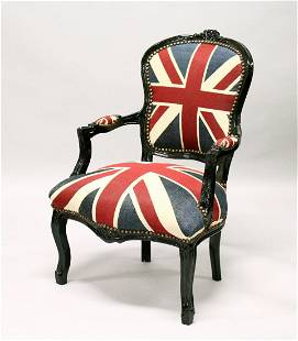 A FRENCH STYLE OPEN ARMCHAIR upholstered with a Union
