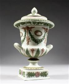 A SUPERB THREE COLOUR WEDGWOOD TWO-HANDLED URN AND