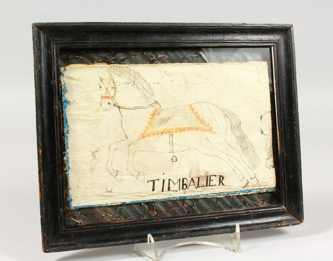 A NAIVE PEN AND INK SKETCH OF A HORSE, framed and