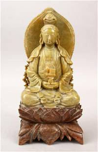 A 20TH CENTURY CHINESE CARVED SOAPSTONE FIGURE OF