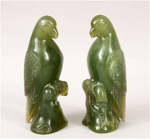 A PAIR OF 20TH CENTURY CHINESE CARVED JADE HARDSTONE