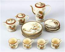 A JAPANESE MEIJI PERIOD SATSUMA PART COFFEE / TEA SET,