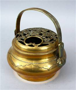A 19TH 20TH CENTURY CHINESE BRONZE CENSER With a