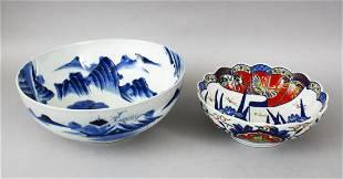 TWO JAPANESE MEIJI TAISHO PERIOD BLUE WHITE IMARI