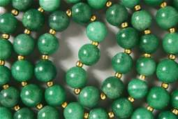 A GOOD CHINESE JADE  JADELIKE HARDSTONE BEAD NECKLACE