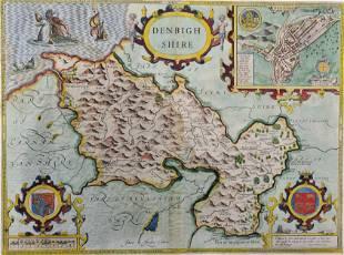 "John Speed (1552-1629) British. ""Denbighshire"", Map,"