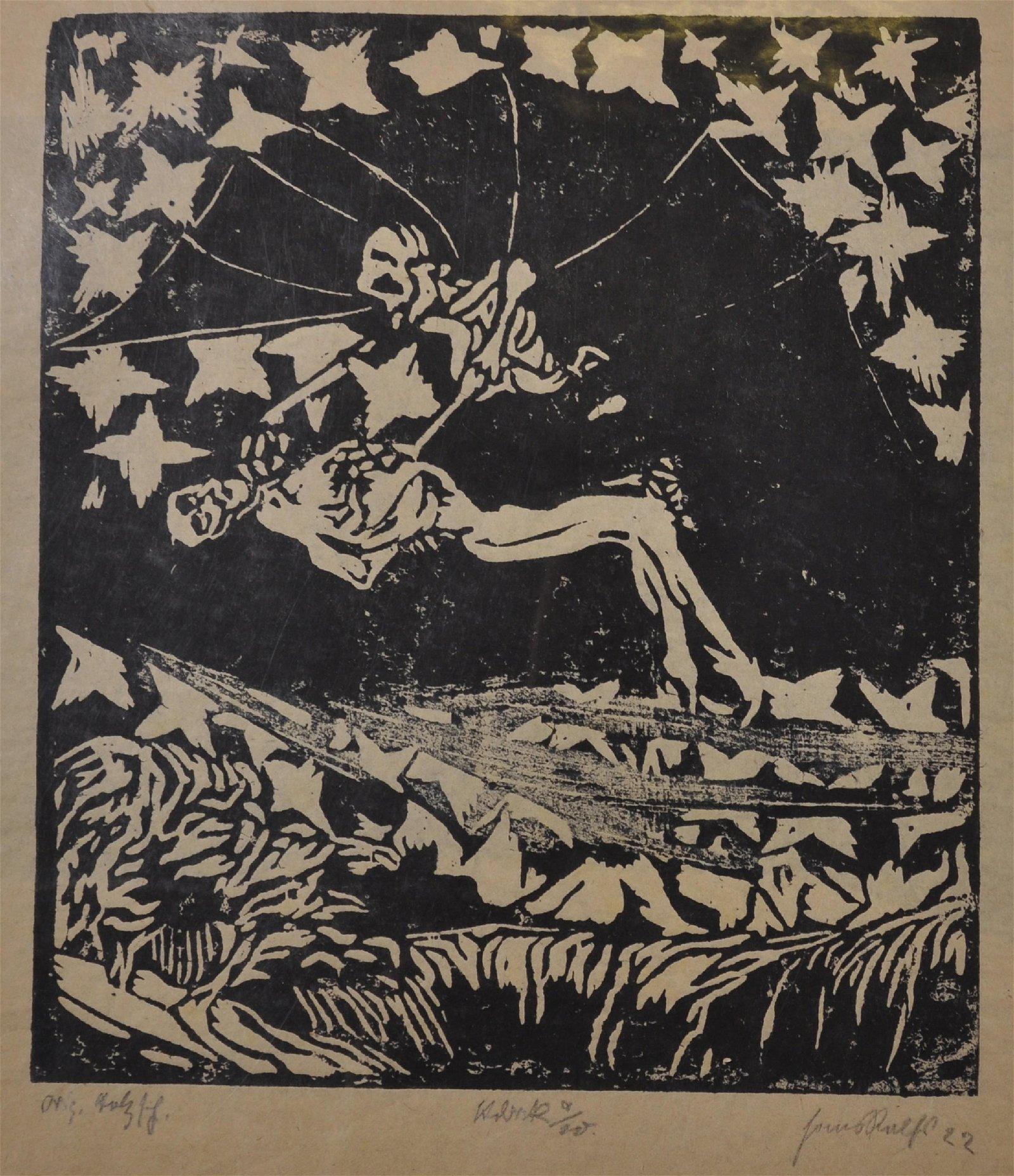 20th Century German School. 'The Ascension', Linocut,