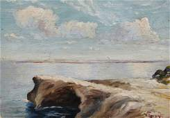 19th Century European School. A Coastal Scene, Oil on