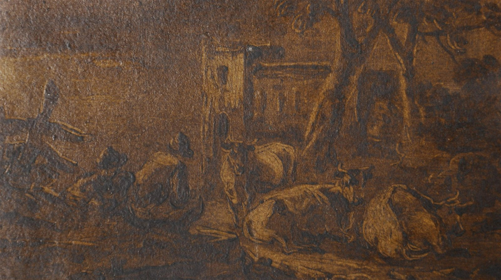 18th Century Dutch School. Figures and Cattle at Rest,