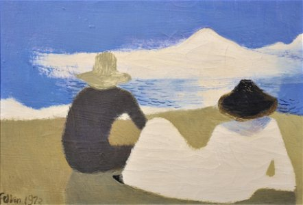 """Mary Fedden (1915-2012) British. """"Man + Woman on the"""