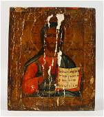 A PAINTED RUSSIAN ICON OF A SAINT  125ins x 105ins