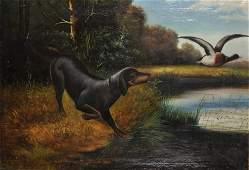 19th Century European School Study of a Hound putting