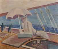 20th Century European An Elegant Lady on a Ship s